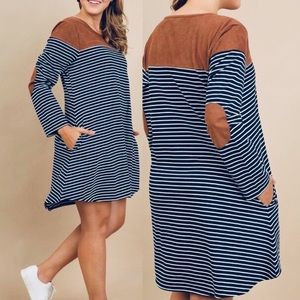 Umgee striped dress with faux suede accents size S